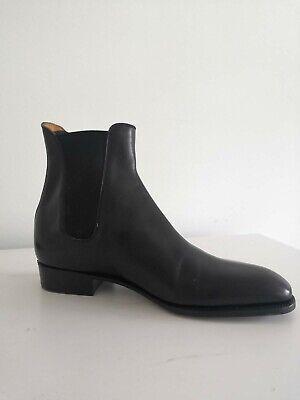 J M WESTON BLACK CHELSEA BOOTS - SIZE 9E - COST £845 NEW.