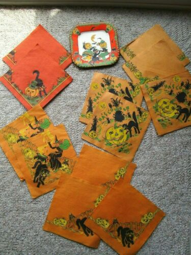 Vintage Halloween Paper Luncheon Napkins Witches/JOLs/Bats 1950s Lot Paperplate