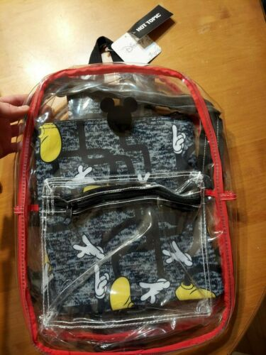 Disney Bioworld Mickey Mouse Clear Backpack Bookbag with Removable Pouch