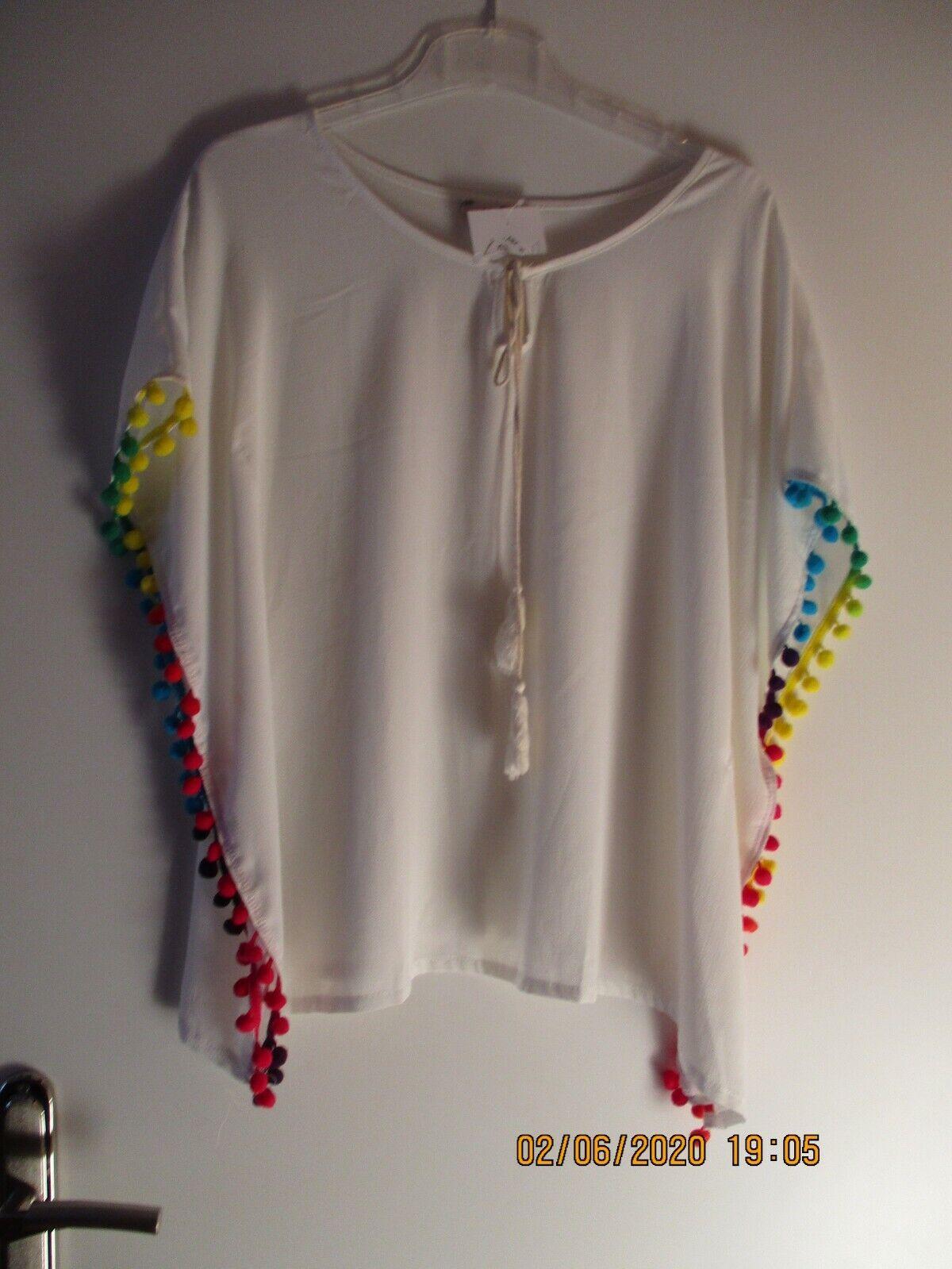 Damen Poncho, Shirt, Tunika, creme, Einheitsgröße 36-40, Neu mit Etikett