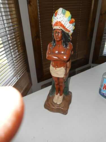 """Vintage Ceramic American Indian Statue 15"""" Tall Colorful Headdress"""