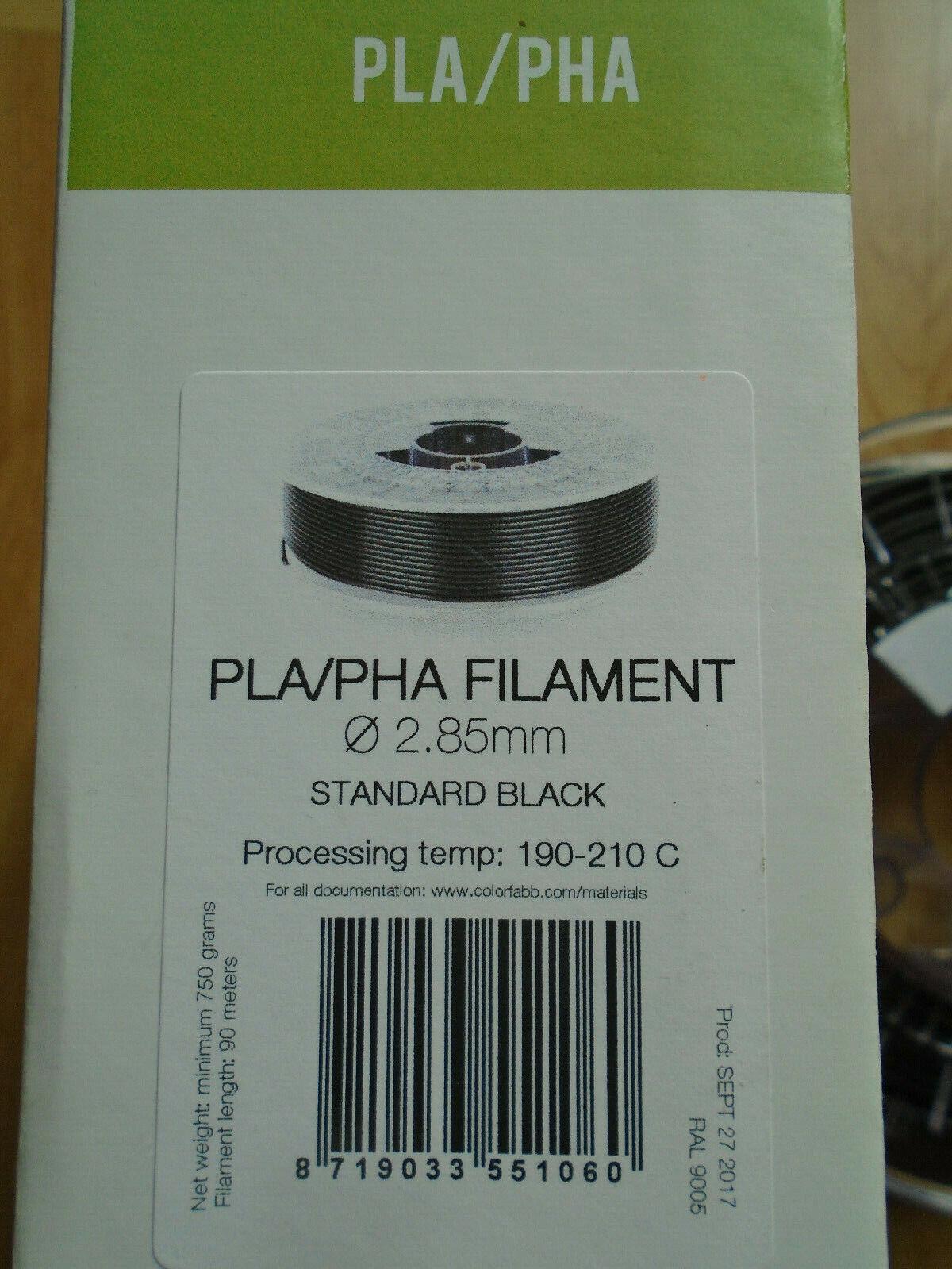 3D Filament - PLA / PHA - ColorFabb - Black - 2,85mm - ca 600g v. 750g Spule