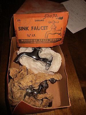 NOS Vintage Antique Pair Chrome Brass Sink Faucet Set Hot Cold Wolverine (t)
