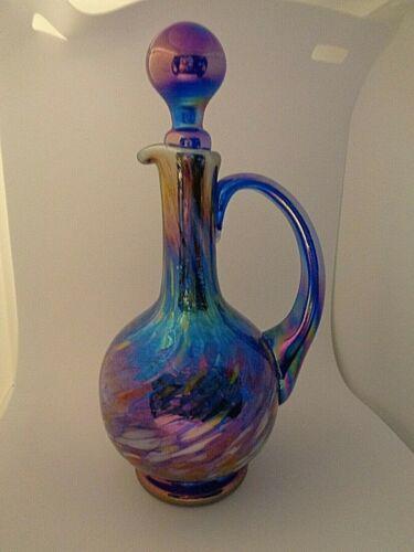 1997 Gibson Studio Art Glass Cobalt Blue Iridescent Speckled CRUET Decanter