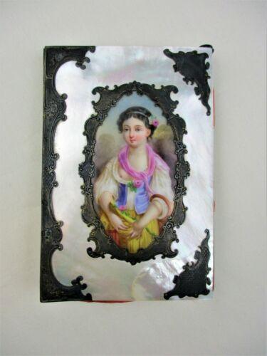 Antique, PALAIS ROYAL MOP and SILVER, Card Case, Hand Painted PORTRAIT, 19TH C