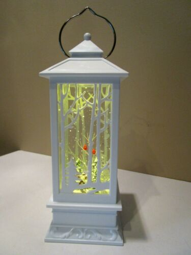 "Lighted Church w/Cardinals in tree Water Snow Glitter Globe Lantern Decor, 11"""