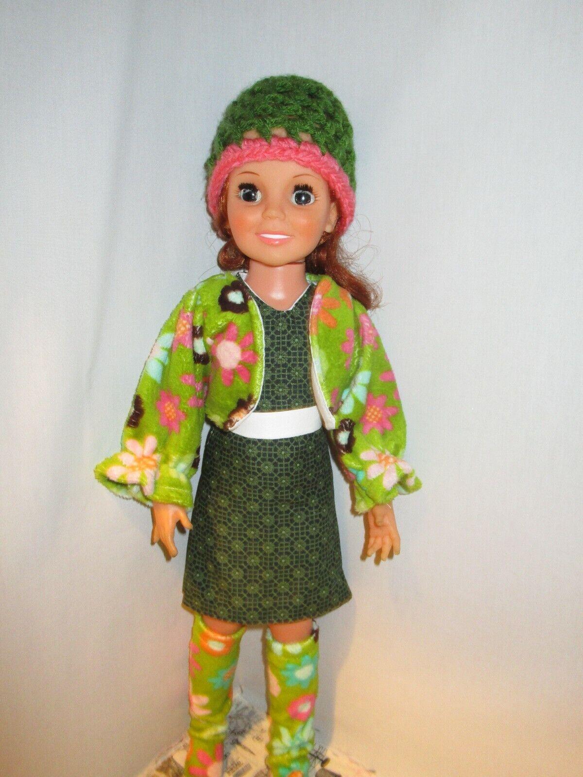Ideal Crissy Doll OOAK Green Flower Power Jacket Dress Belt Boots Hat Funky Mod - $18.00