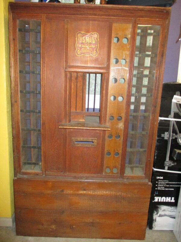 Antique Oak US Post Office Postal Window Teller's Cage Window Display