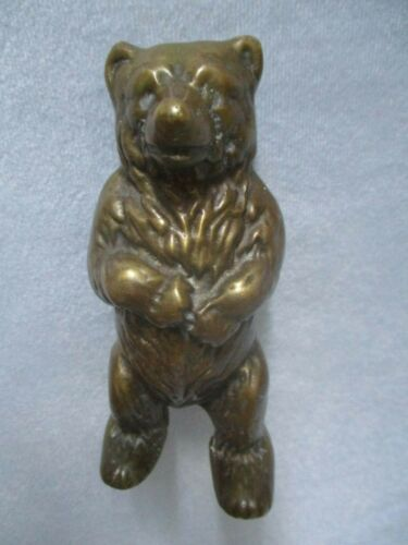 "Vintage Brass 6"" Standing Teddy Bear Bank"