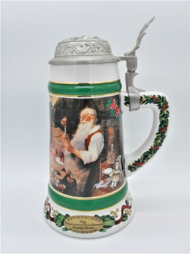 "Norman Rockwell ""Santa Workshop"" Porcelain Lidded Beer Stein Mug 1992 9"" inch"