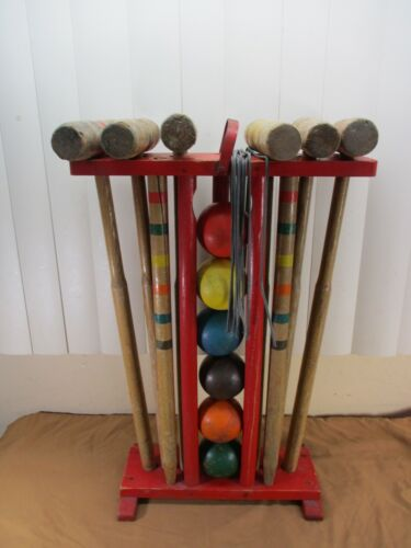 Vintage Wooden 6-PLAYERS Croquet Set with Stand COMPLETE   READY to PLAY
