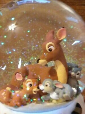 Disney Bambi Friends Enesco Musical Water Snow Globe Christmas Cantique De Noel