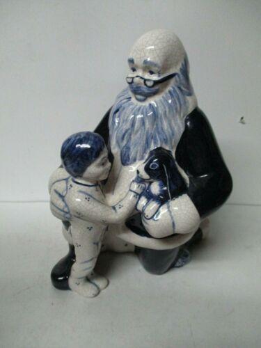 "9 1/2""T- Dedham Pottery Santa w Boy & Dog - Christmas Ltd Edt Potting Shed 65"