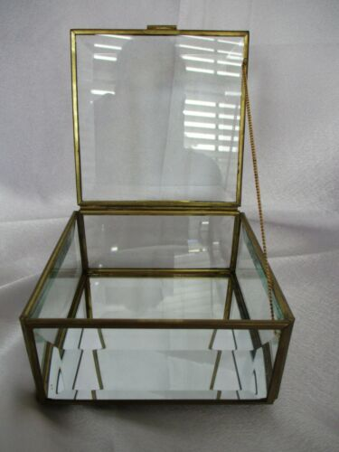 Beveled Glass and Brass Square Box with Lid and Chain.