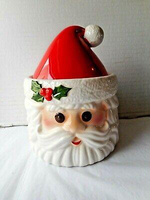 Cute Vintage 1978 Fitz & Floyd Christmas Santa Head Candy Cookie Treat Jar