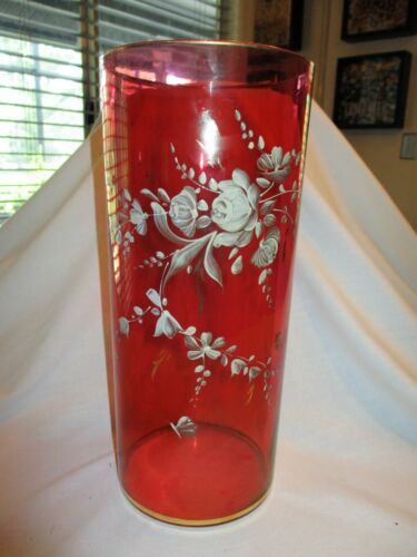 Vtg Rainbow Glass Co Cranberry Red Large Vase Gold Gild Trim Cylindrical 1950s
