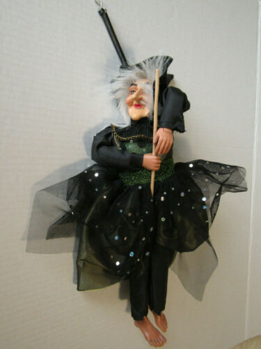 Halloween Hanging Witch Riding a Broom Doll Decor 14 inches Green Dress New