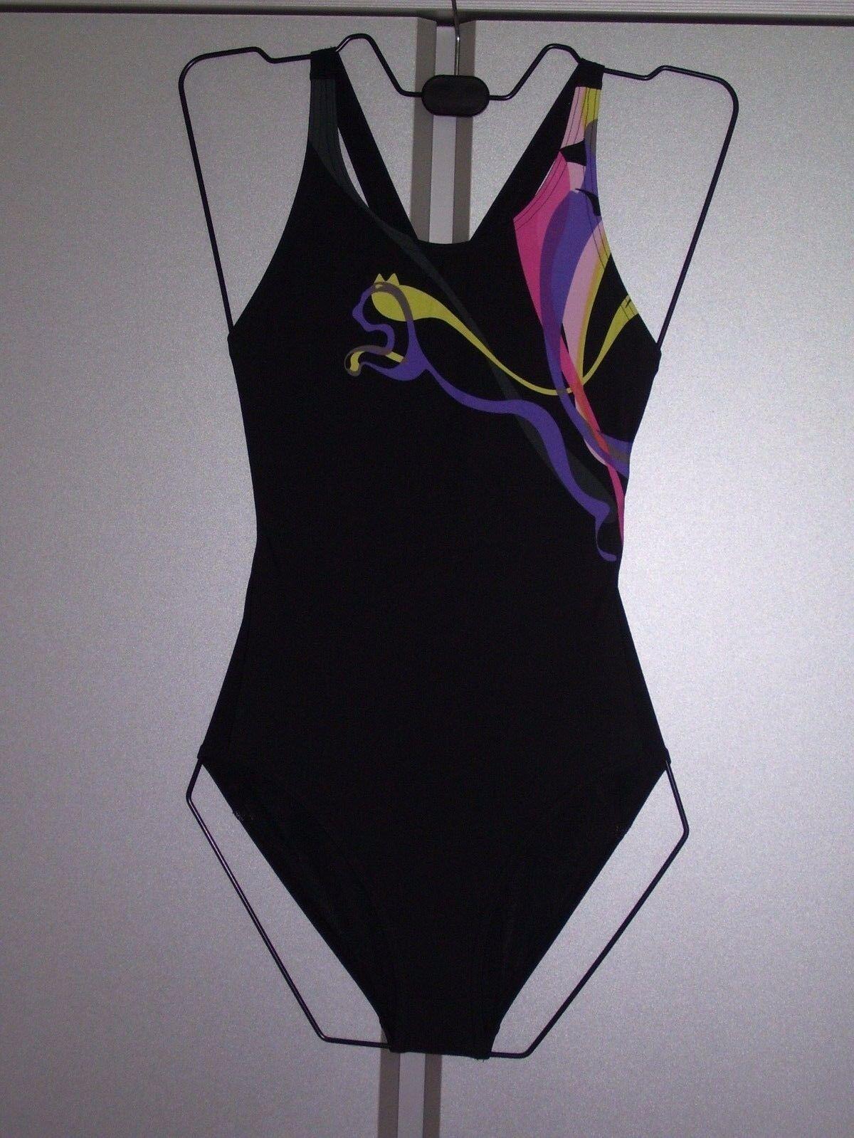 Puma Damen Badeanzug Hydrocat Schwimmanzug chlorresistent schwarz bunt S 36 neu