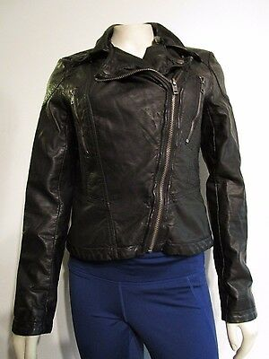Womens XS Free People Fashion Leather Moto Biker Full Zip Light Coat Jacket