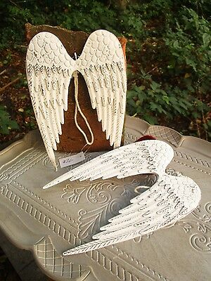 FLÜGEL  Metall Weiß Engel Shabby Engelsflüge Fensterschmuck Dekoration Weihnacht