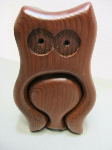 Vintage Stash Box Wood Owl Native Redwood Handcrafted With Drawer