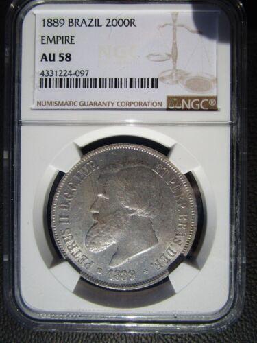 1889 Brazil 2000 Reis, NGC AU 58