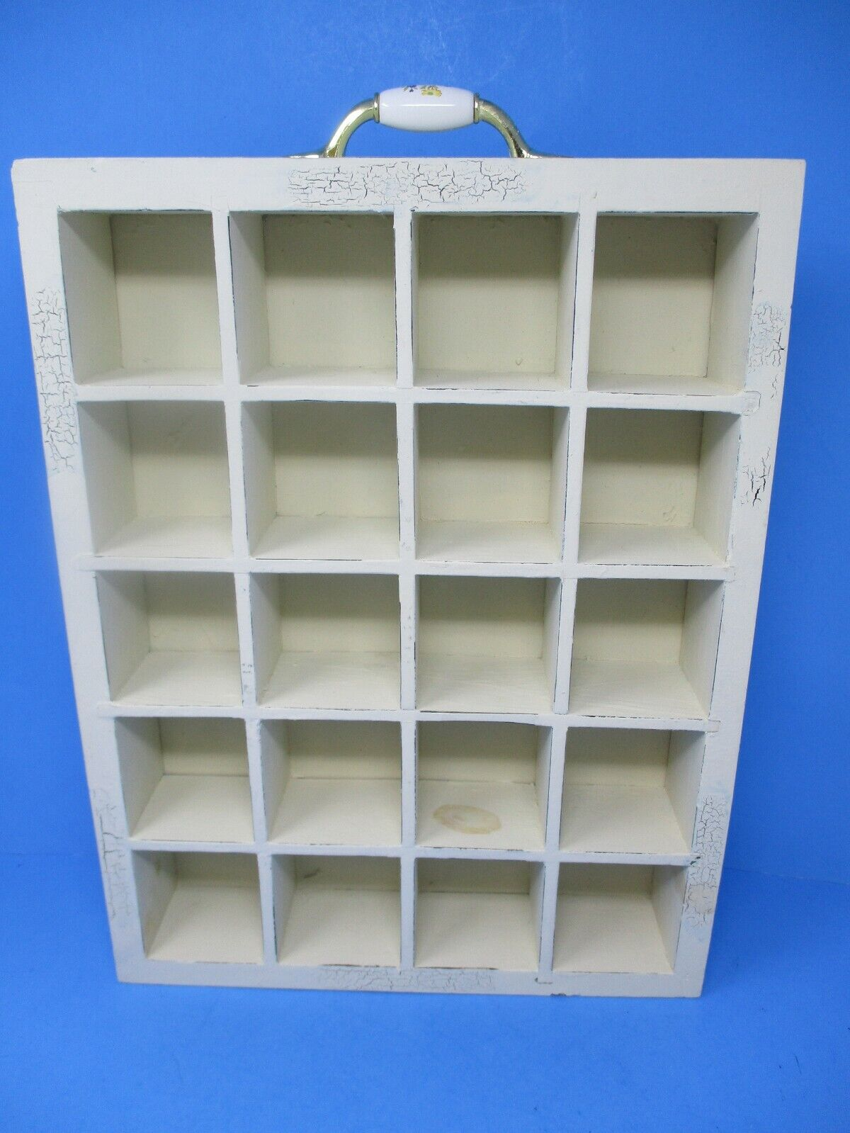 White Wooden Curio Miniatures Wall Display Box
