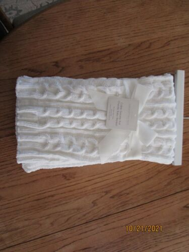 """NEW Manhattan Kids White Cable Sweater Knit Chenille Baby Blanket 30x30"""" NWT"""