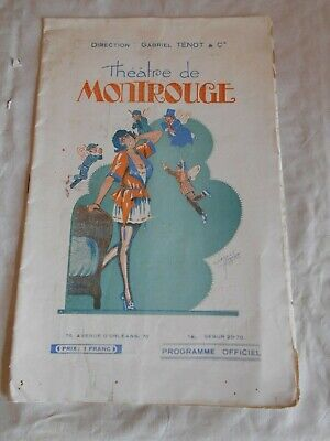 Vintage Programme Theatre De Montrouge cover art work by clerice freres 1922