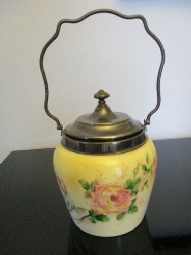 Antique Victorian Large Pink Rose Milk Glass Silver Plate Bisquit Cracker Jar!
