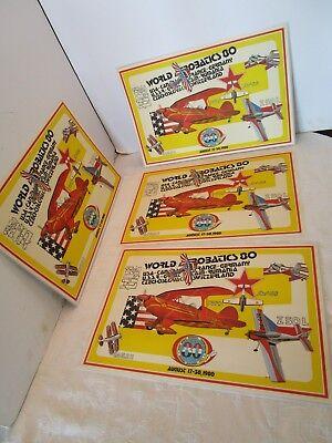 EAA AIRPLANE set 4 Place mats 1980 World Aerobatics Championship Oshkosh Airshow