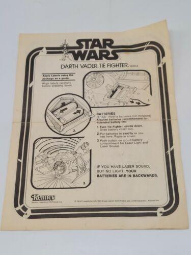 Vintage Star Wars 1983 Darth Vader Tie Fighter Instructions