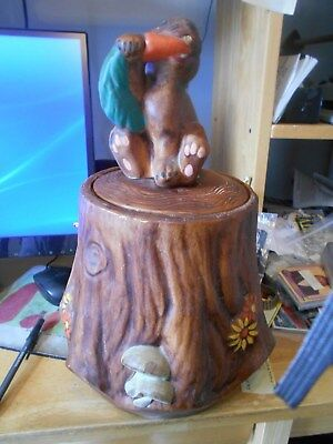 Vintage Treasure Craft Bunny Rabbit on Tree Stump Cookie Jar for sale  South River