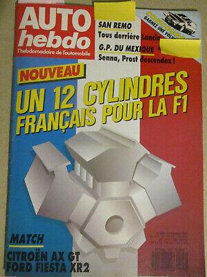 AUTO HEBDO: n°596: 21/10/1987: CITROEN AX GT - FORD FIESTA XR2 - SIERRA COSWORTH