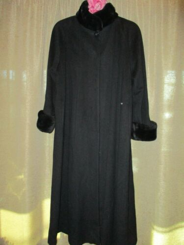 VTG Steve by Searle maxi black coat wool / cashmere ? mod. swing