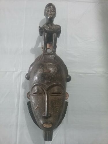 LG ROYAL BAULE RELIQUARY HEADDRESS Mask RARE African Carving!!