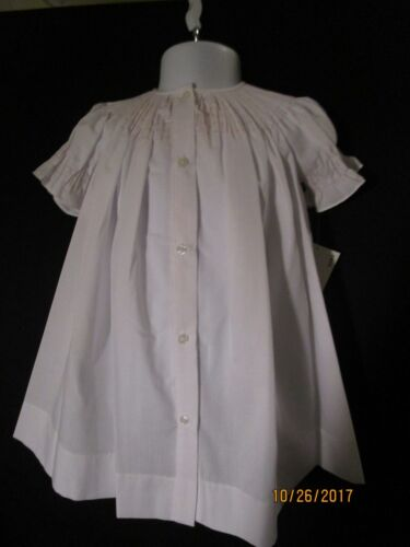 NEW READY TO SMOCK WHITE BISHOP STYLE BUTTON FRONT DAYGOWN SHORT SLEEVES ROSALIN