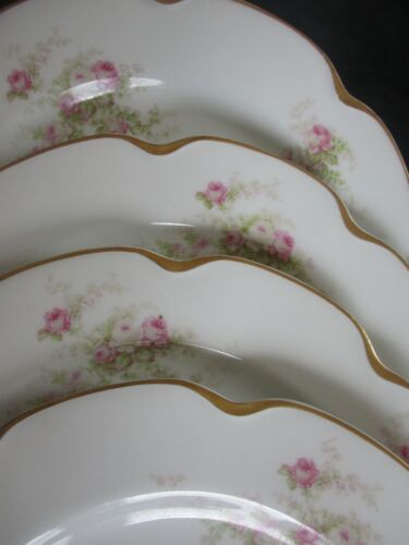 """Set of 4 HAVILAND PLATES 8 5/8"""" Pink White Roses GOLD #19 PERFECT Limoges"""