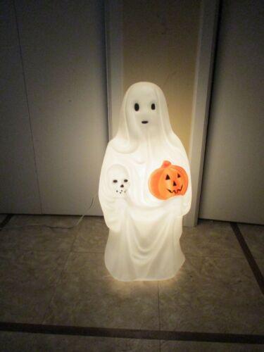 Vintage Spooky Sheet Ghost w/ Pumpkin & Skull Lighted Halloween Blow Mold Empire