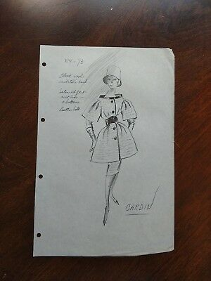 Vintage Fashion Stat Sheet 1950s-60s PIERRE CARDIN Dress w puffed sleeves