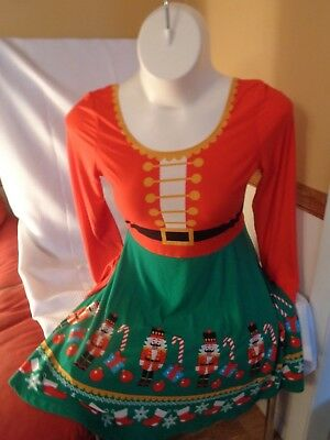 Christmas Dress red green women's 1X soldiers candy canes etc POLYESTER 1 piece