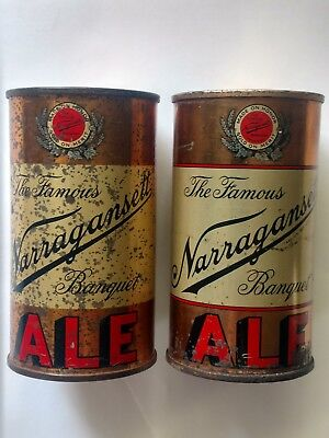 Two different Narragansett Banquet flat top beer cans red stripe Rhode Island RI