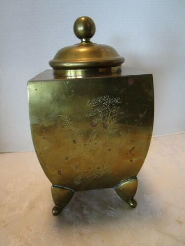 "Vintage Asian 4 Sided Engraved Brass Footed tea caddy canister 11½""T"