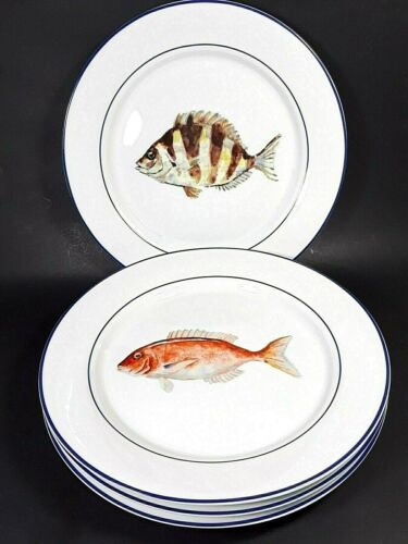 Williams-Sonoma La Mer Marc Lacaze Set of 4 Fish Dinner Plates 2008