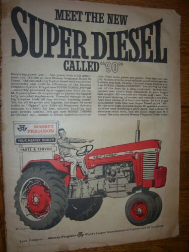 VINTAGE MASSEY FERGUSON ADVERTISING PAGE -MF  SUPER 90 TRACTOR -1962