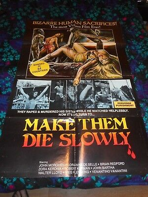 MAKE THEM DIE SLOWLY - ORIGINAL FOLDED POSTER - 1981 (CANNIBAL FEROX)