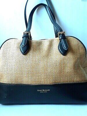 Isaac Mizrahi New York Large Weekender Handbag Straw Dark Brown Vintage