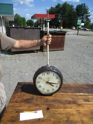 VINTAGE GENERAL ELECTRIC TELECHRON SCHOOL INDUSTRIAL WALL CLOCK DOUBLE SIDED