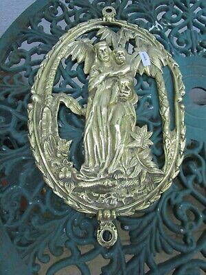 Antique Brass Furniture Ormolu Mount Victorian Plaque Virgin Mary Jesus Nature