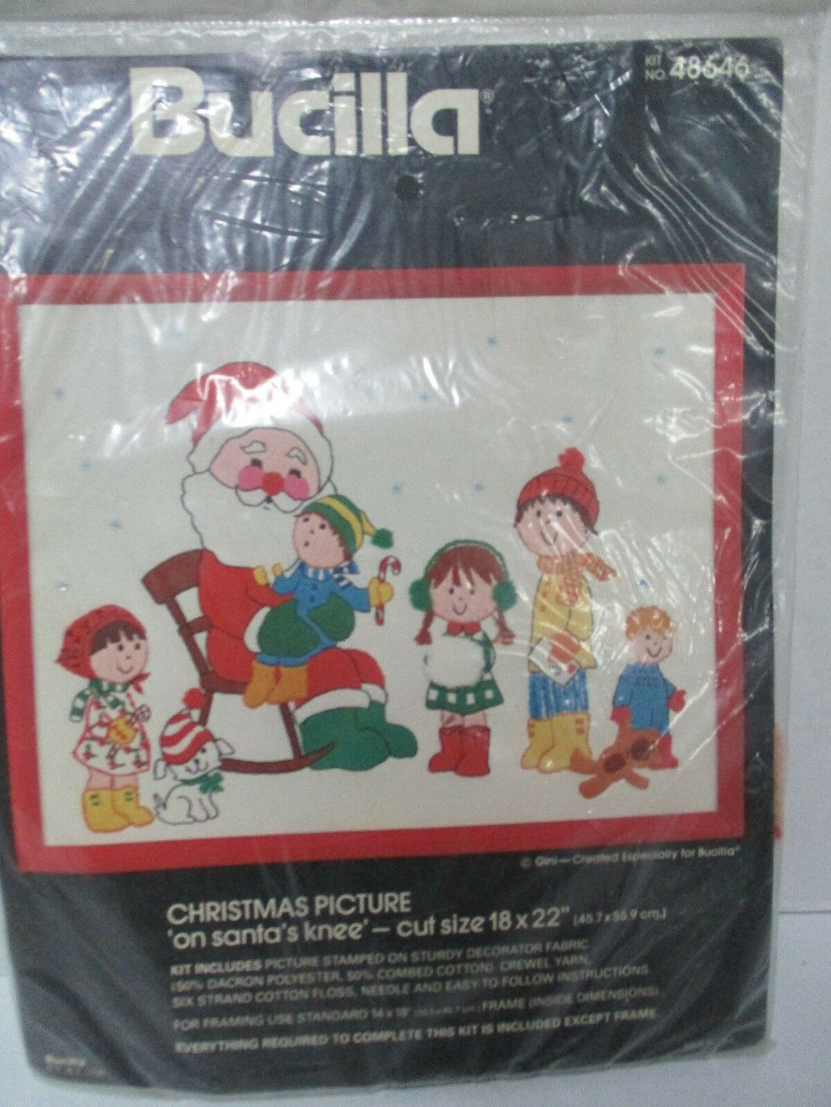 bucilla crewel embroidery kit on santas knee christmas usa 48646 sealed gini